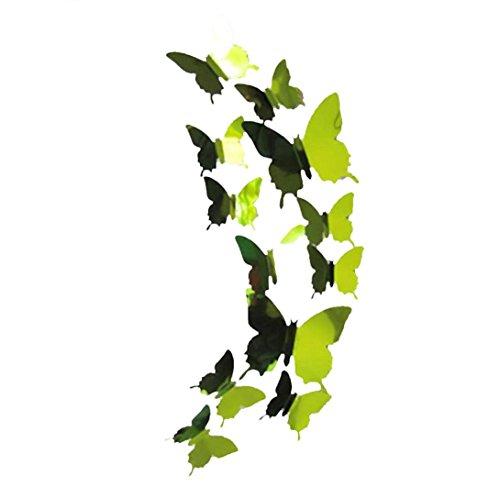 FORH 12 PCS 3D Schmetterlinge Wanddeko Aufkleber Abziehbilder Wand Aufkleber Hauptdekorationen Wandtattoo Schmetterlings Regenbogen Wand-dekor Kinder Baby Schlafzimmer Deko (Grün)