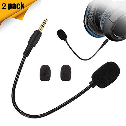 XBC Tech - Confezione da 2 microfoni di Ricambio da 3,5 mm, compatibili con Cuffie da Gioco Turtle Beach Ear Force Xbox One PS4 Nintendo Switch Mac PC Gaming