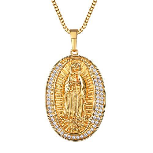 Suplight Damen Kette Jungfrau Maria Oval Christliche Medaille Anhänger Halskette 18K VergoldetReligiöse Kettenanhänger Weihnachtsgeschenk, Gold