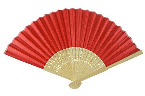 Rangebow SHF04 Rouge Lot de 10 gros éventail en soie Bambou côtes cadeau mariage dragées