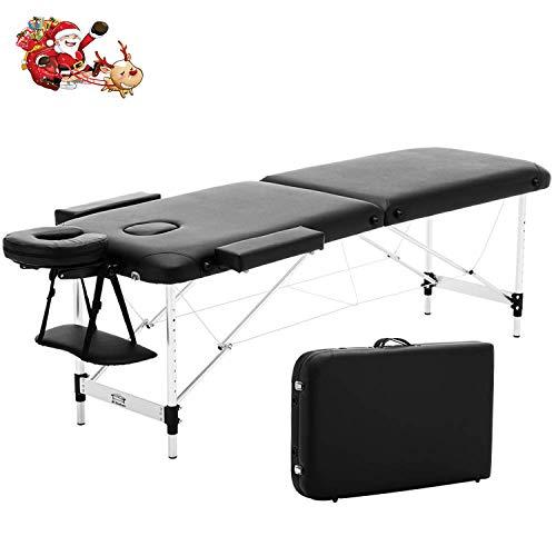 JL Comfurni Mobile Massageliege klappbar Massagebank mit 2 Zonen tragbaren höhenverstellbaren...