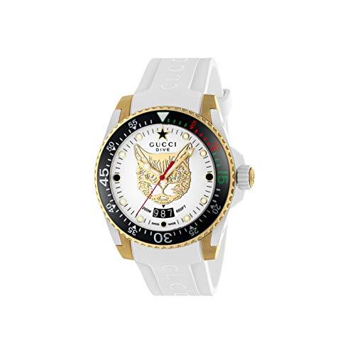 Gucci Reloj de Buceo cauuciu Carcasa Blanca con pvd con Oro Amarillo YA136322