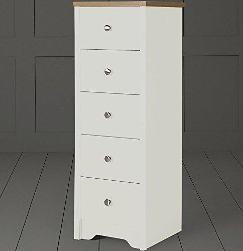 Tesco NEW Somerton 5 Drawer Tallboy Narrow Slim Chest (Ivory & Oak Effect)