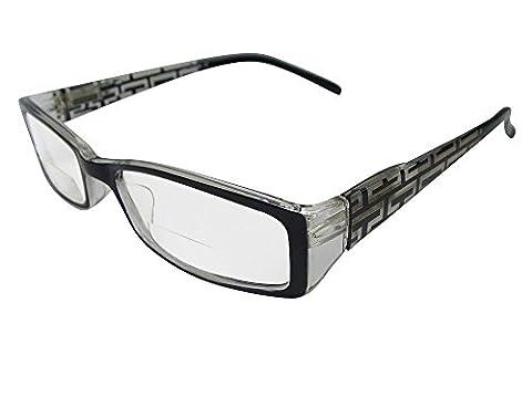 Lisbon Bifocal Reading Glasses in Designer Rectangular Frame with Fully