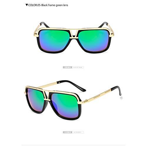 Taiyangcheng Hombres gafas de sol de Gran tamaño Gafas de montura metálica Moda Conducción Viajar,Verde Negro