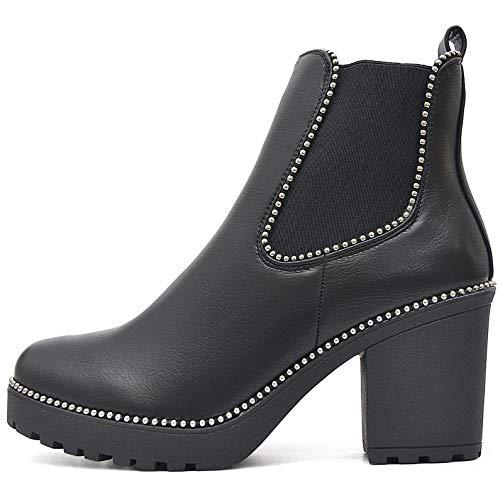 FLY 4 Chelsea Boots Plateau Stiefeletten in vielen Farben und Mustern (37 EU, Schwarz Nieten)