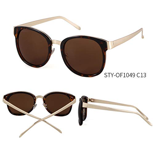 Taiyangcheng Gafas de sol Con Espejo ovalado para Mujer Gafas de sol Con montura metálica para Hombres Gafas al aire Libre,C13
