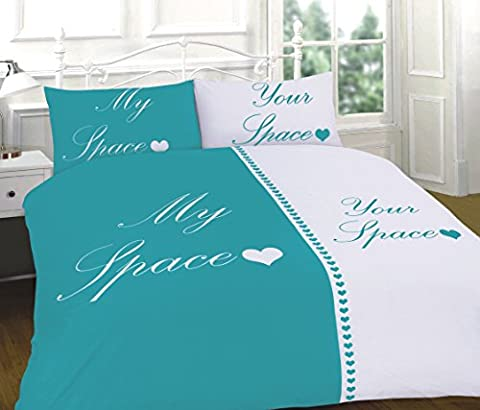 CLICKTOSTYLE MY SPACE YOUR SPACE TEAL COLOUR KING SIZE DUVET SET QUILT COVER WITH PILLOW CASES