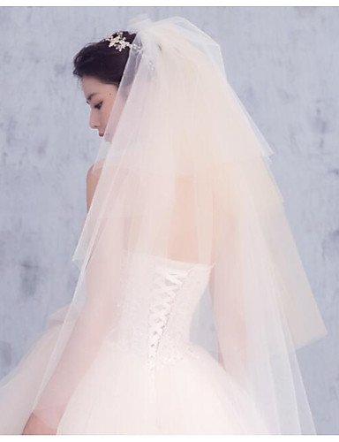 FJY&TS Vier-Schichten Moderner Stil Brautkleidung Prinzessin Simple Style Hochzeit Modern/Zeitgenössisch Hochzeitsschleier Ellbogenlange Schleier , ivory (Rouge Schleier)