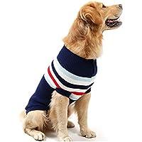 Liboom Ropa para Mascotas Chaleco para Perro a Rayas Suéter de Tejido para Cachorros Caliente del Invierno de Punto Suéter para Gatos Perros Mascotas Pequeños XL Armada