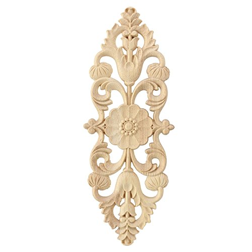 Geschnitzt 2-tür Schrank (2 stück Europäischen Stil Holz Geschnitzte Ecke Onlay Applique Möbel Unlackiert Tür Decor 28x10 cm)