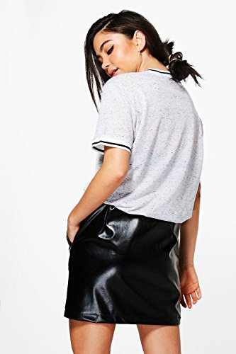 Noir Femmes Grace T-shirt Basique À Bords Contrastés Effet Flammé Noir