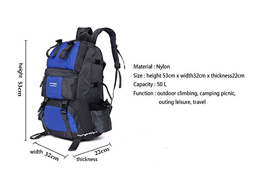 Wanderrucksack 50L Wasserdichtes Sporttasche Big Outdoor-Kapazität Taschen Bergsteigen Jagd Travel Rucksäcke 11