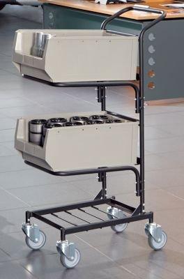 Servicewagen - mit 2 Sichtlagerkästen - tiefschwarz, Feinstruktur -