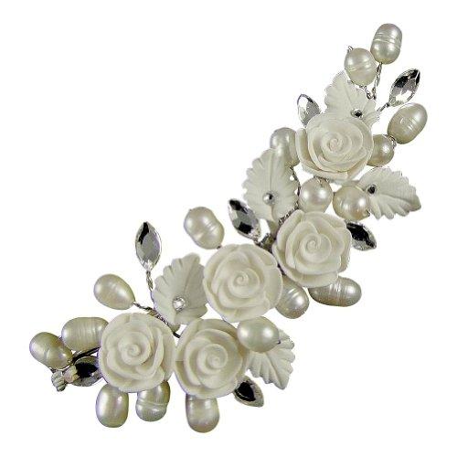Euphyllia e2067hcs Pince à cheveux ornementale à motif floral avec perles pour mariage Argent 8 cm