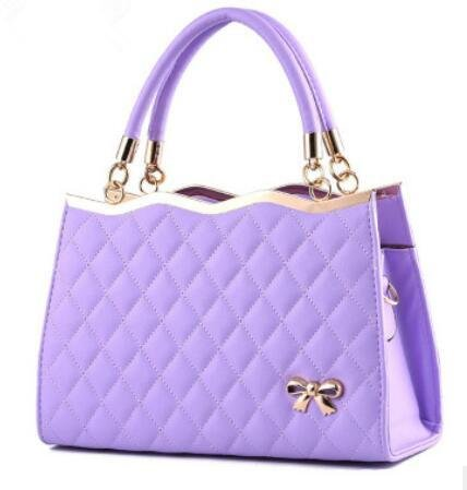 HQYSS Borse donna Borsa in pelle PU Bow signora in rilievo Tracolla Messenger Zipper Tote 30 * 10 * 20cm , purple taro purple taro