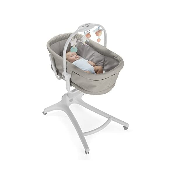 Chicco Baby Hug 4 in 1, Legend  It covers all your and your baby's needs: it is a comfy crib, a recliner from birth, a convenient highchair and finally your child's first chair from 6 months. Adjustable heights and backrest and 4 wheels Removable reducer to make the recliner suitable from birth 2
