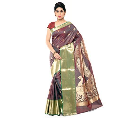 Varkala Silk Sarees Women's Art Silk Paithani Saree With Blouse Piece(JB5004RMRD_Brown_Free Size)