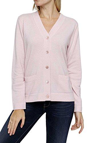 Lai La New York Damen Pullover 100% Kaschmir Cardigan SAMIRA Pure Cashmere , Farbe: Rosa, Größe: 44 (York-kaschmir-pullover New)