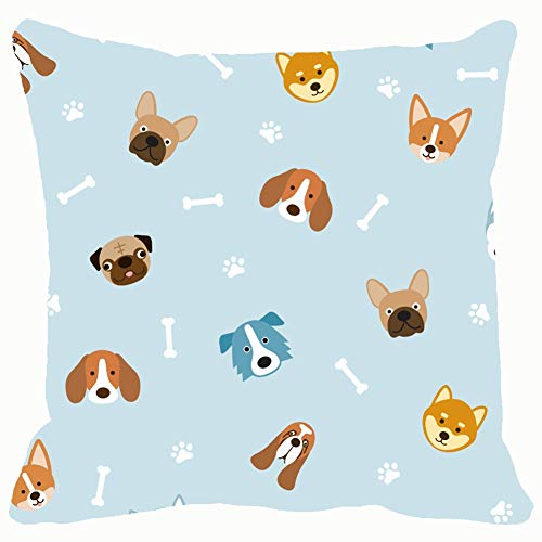 tuyi Dog Breeds Head Seamless Pattern Blue Animals Wildlife Animal Throw Pillows Covers Cushion Case Pillowcase Home Sofa Couch 18 x 18 Inches Pillowslips -