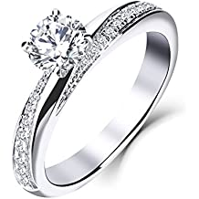 3fbe2b84a10f YL 9ct oro blanco 5MM 0.5 ct Moissanite y anillo de bodas de compromiso de  diamantes