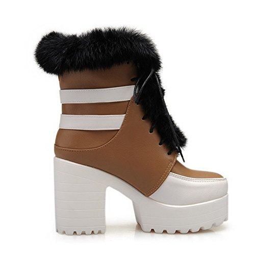 VogueZone009 Damen Schnüren Hoher Absatz Gemischte Farbe Niedrig-Spitze Stiefel Kamel Farbe