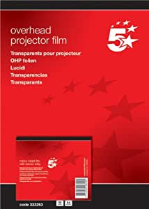 5 Star OHP Film Inkjet General Purpose 100 micron A4 Clear [Pack of 50]