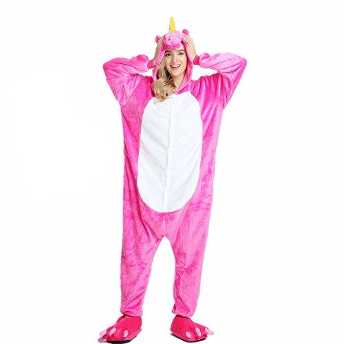 Unicsex Süß Einhorn Overall Pyjama Jumpsuit Kostüme Schlafanzug Für Kinder / Erwachsene (L, ()