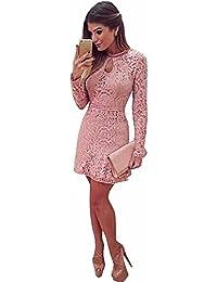 vestidos, RETUROM Nuevas mujeres de moda rosa hueco encaje manga larga vestido delgado