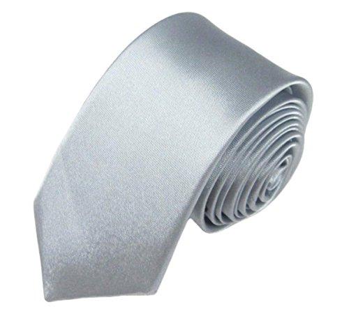 WS schmale dünne KRAWATTE Business Slim Tie Schlips schmal (silber)