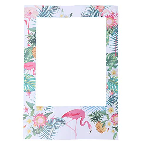 Amosfun Hawaiian Flamingo Party Picture Frame Hawaii Tropical Theme Photo Booth Props Frame for Summer Luau Party Supplies (Booth Photo Frame-prop)