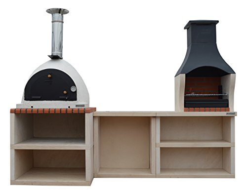 Napoli Outdoor Wood Fired Pizza Oven & Barbecue Grill Garden Combo Kitchen