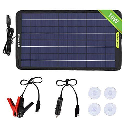 eco-worthy 12Volt 10Watt Portable Power pannello solare batteria di backup caricabatterie per auto barca con clip a coccodrillo, adattatore, nero, 10W