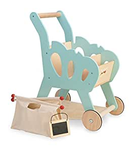 Le Toy Van Honeybake Wooden Shopping Trolley with Detachable Bag