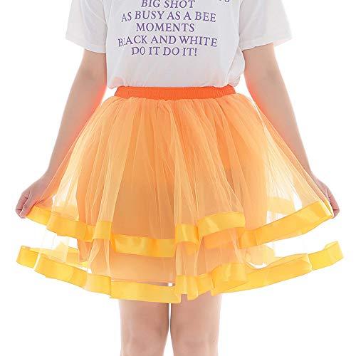 Andouy Damen Tutu Rock Tüll Organza Satin Saum Petticoat Ballett Tanz Layred Kostüm Dress-up Größe - Rot Und Orange Tanz Kostüm