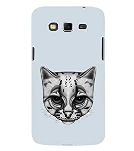 Fuson Designer Back Case Cover for Samsung Galaxy Grand 2 :: Samsung Galaxy Grand 2 G7105 :: Samsung Galaxy Grand 2 G7102 :: Samsung Galaxy Grand Ii (cat cat face White cat Dull Looking cat Blue)