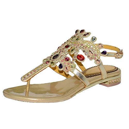 Unbekannt Diamant Sandalen für Damen, Sommer Keil Jeweled Glitter Offener Zeh Slingback Knöchel Gurt Niedriger Absatz Slipper,43 Jeweled Slingback