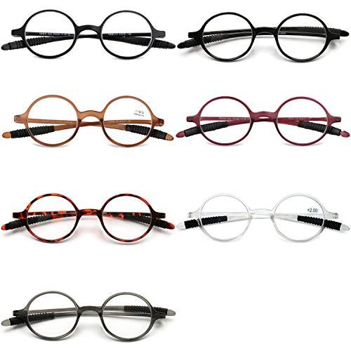 VEVESMUNDO Lesebrillen Damen Herren Lesehilfe Sehhilfe Retro Runde Schmal Flexibel Leicht Nerd Brillen mit Stärke 1.0 1.5 2.0 2.5 3.0 3.5 4.0 (7 Stück Set, 2.5)