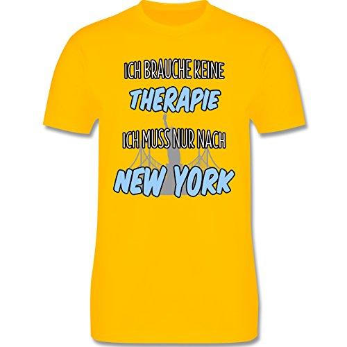Städte - Ich brauche keine Therapie ich muss nur nach New York - Herren Premium T-Shirt Gelb
