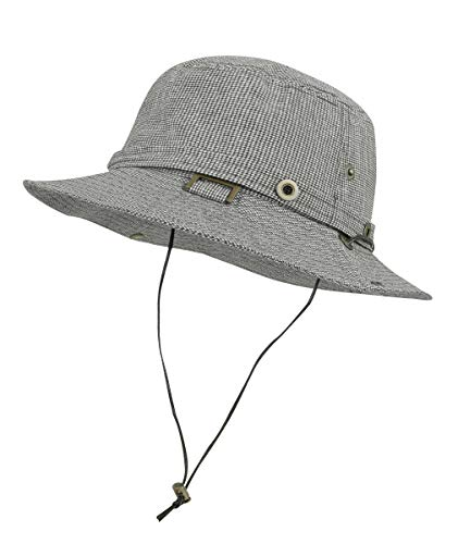 3a43f094 ililily Cotton Hunting Fishing Camping Outdoor Boonie Bucket Hat  Collection, Black&White Plaid