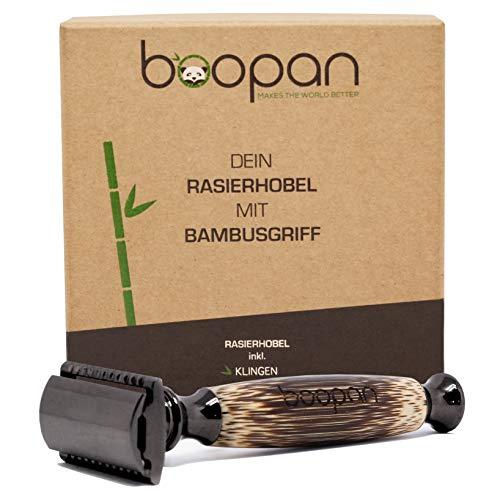 boopan Premium Rasierhobel mit handgefertigtem Griff aus Bambus inkl. 5 Astra Rasierklingen | Nassrasierer mit 2-seitigem Klingenkopf | geschlossener Kamm |für Herren & Damen | Metalgun Chrom