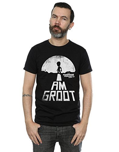 Marvel Herren Guardians of the Galaxy I Am Groot White T-Shirt X-Large Schwarz (Tee Marvel T-shirt Lizenziertes)