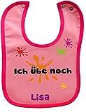 Baby Lätzchen mit farbigen Saum ICH ÜBE NOCH (rosa-pink)