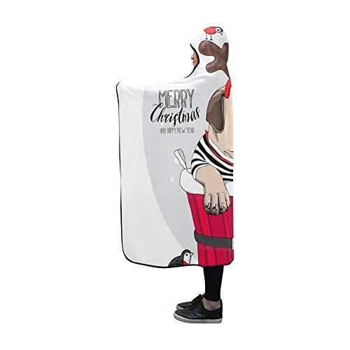 (JSXMNA Mit Kapuze Decke Weihnachtskarte Mops Hund Santas Deer Decke 60 x 50 Zoll Comfotable Mit Kapuze werfen Wrap)