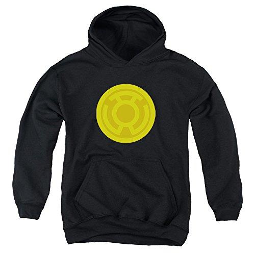 Green Lantern - Jugend Yellow Symbol Kapuzenpulli, X-Large, Black Green Lantern Symbol Hoodie