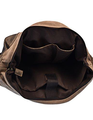 Douguyan Männer Damen Baumwoll Schultertasche Messenger Bag Reise Schule Schulter Tasche Aktentasche Arbeittasche Notebooktasche Canvas Teenager Herren Braun E00261 261-Braun