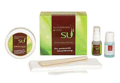 Sugaring4You Zuckerpaste Beauty-Set zur sanften Haarentfernung, Enthaarungsgel für Frauen & Männer inkl. Silverspray, Cleanser & Zubehör zur Vor- und Nachbehandlung (Zuckerpaste Extra-Soft 250g)