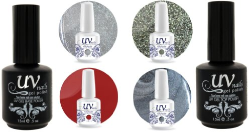 UV-Nails Soak-Off Gel Set Appletini (GL7,GL9,G41,G43) 2 Glitters & 2 Vernis a Ongles Gel 0.5 OZ + Base & Top Coat 0.5 OZ + Polissoir & Lime a Ongles Aviva