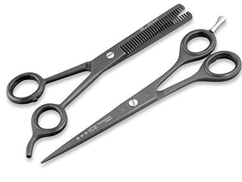 2-Teiliges Frisör-Haarscheren-Set Friseurschere + Effilierschere Mikroverzahnung 15,24 cm Schwarz