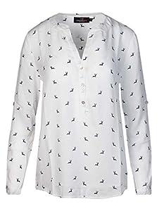 Zwillingsherz Bluse mit Hirsch Muster - Hochwertiges Oberteil für Damen Mädchen - Langarmshirt Top - T-Shirt - Pullover - Sweatshirt - Hemd für Sommer Frühling Herbst und Winter grau